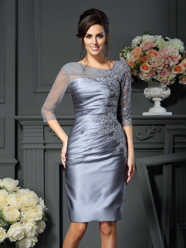 Sheath Scoop Beading 1/2 Sleeves Knee-Length Satin Mother of the Bride Dress