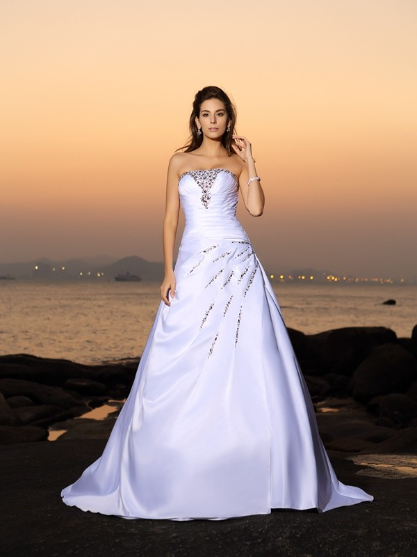A-Line Strapless Beading Satin Chapel Train Wedding Gown