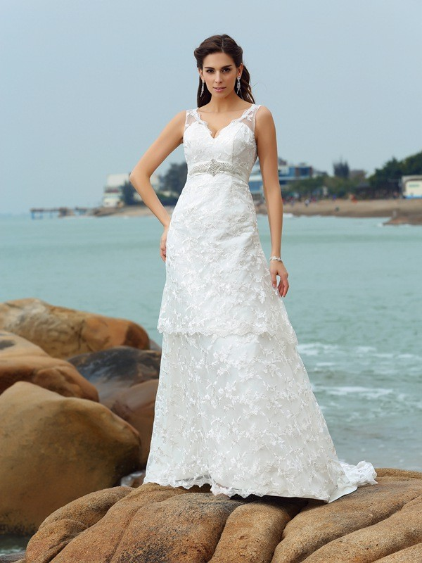 A-Line/Princess Straps Applique Sleeveless Chapel Train Satin Bridal Dress