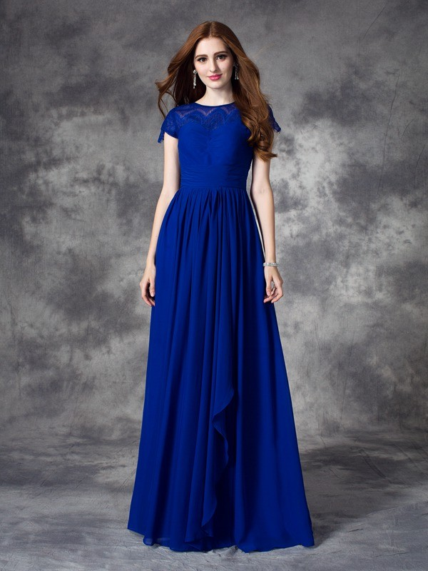 Princess Bateau Lace Floor-length Chiffon Bridesmaid Gown