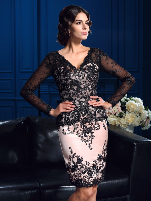 Sheath V-neck Long Sleeves Applique Short Lace Mother of the Bride Dress