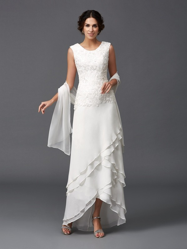 Princess Scoop Lace Asymmetrical Chiffon Mother of the Bride Dress
