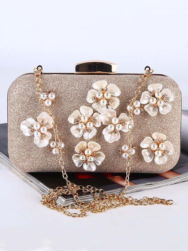 Pretty Pearl Party Handbags With Flowers