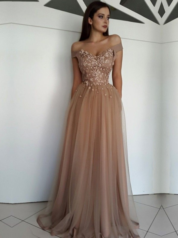 A-Line/Princess Off-the-Shoulder Sleeveless Floor-Length Applique Tulle Dress