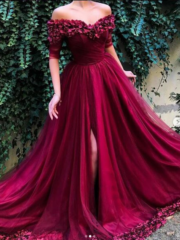 A-Line/Princess 1/2 Sleeves Sweep/Brush Train Off-the-Shoulder Ruffles Tulle Dress