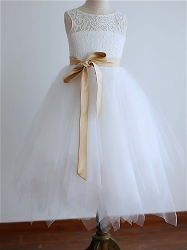 A-line/Princess Scoop Sleeveless Sash/Ribbon/Belt Tea-Length Tulle Flower Girl Dresses