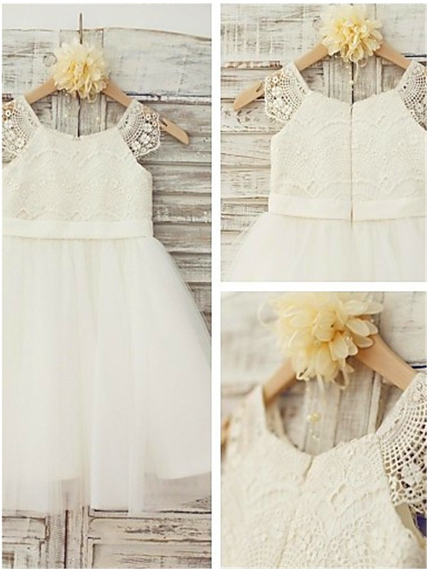 A-line/Princess Scoop Sleeveless Lace Knee-Length Tulle Flower Girl Dresses