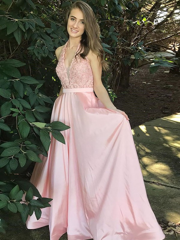A-Line/Princess V-Neck Floor-Length Satin Dress with Lace