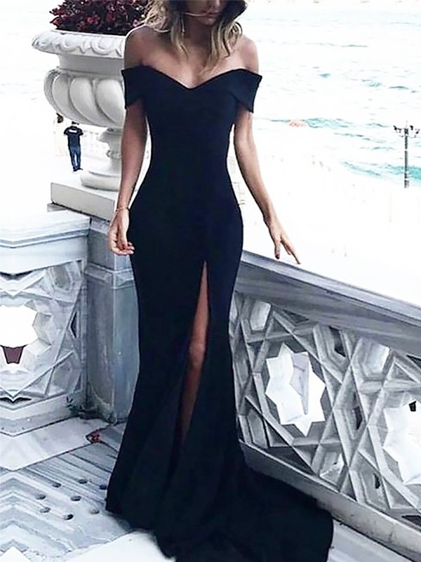 Sheath Off-the-Shoulder Court Train With Ruched Dress