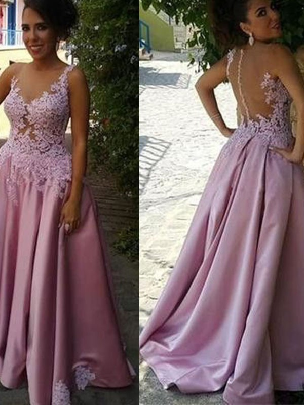A-Line/Princess Sheer Neck Sleeveless Applique Ruched Sweep/Brush Train Satin Dresses