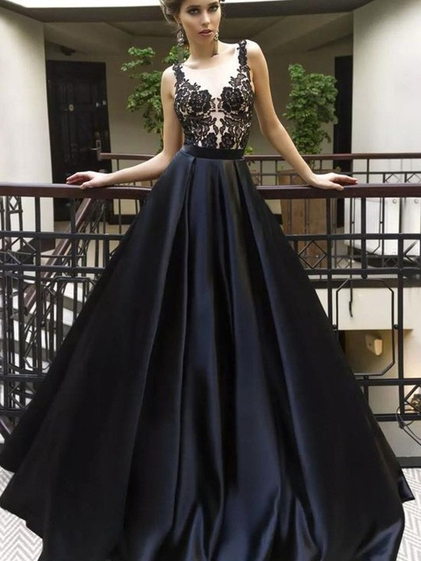 A-Line/Princess Sheer Neck Sleeveless Applique Sweep/Brush Train Ruched Satin Dresses