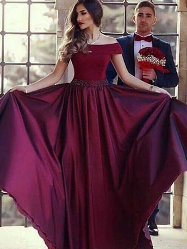 A-Line/Princess Short Sleeves Off-the-Shoulder Sweep/Brush Train Ruched Satin Dresses
