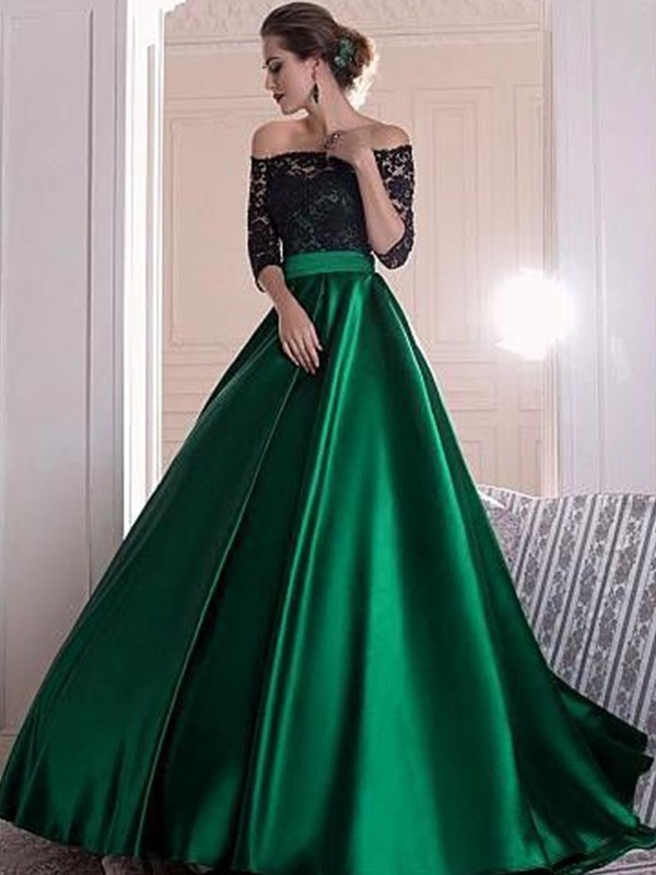 A-Line/Princess Off-the-Shoulder 3/4 Sleeves Ruched Sweep/Brush Train Satin Lace Dresses