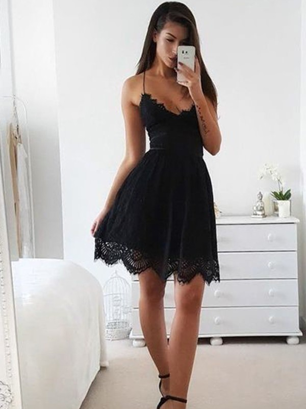 A-Line/Princess Spaghetti Straps Short/Mini Dress with Lace