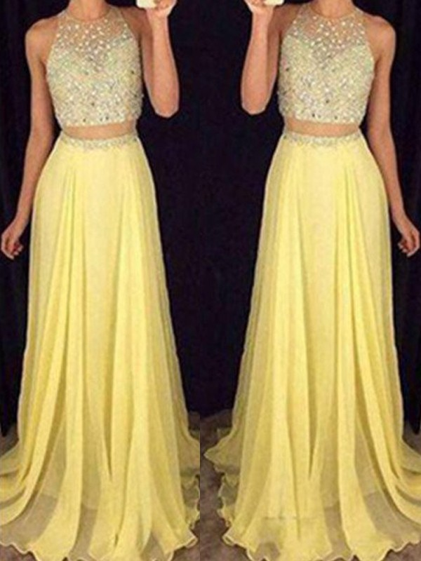 A-Line Scoop Sweep/Brush Train Beading Chiffon Two Piece Evening Dresses