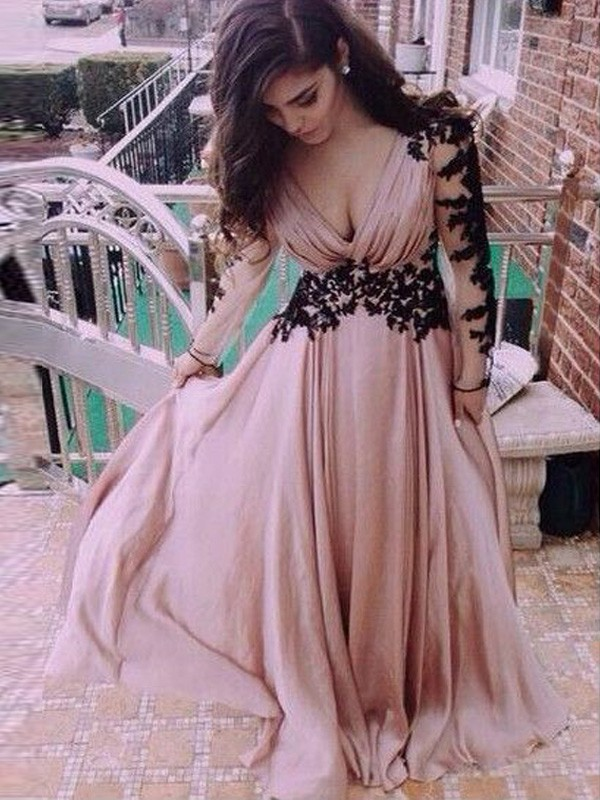 A-Line/Princess Long Sleeves V-neck Chiffon Applique Floor-Length Dress