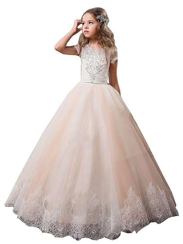 Ball Gown V-neck Floor-Length Tulle Flower Girl Dress with Lace