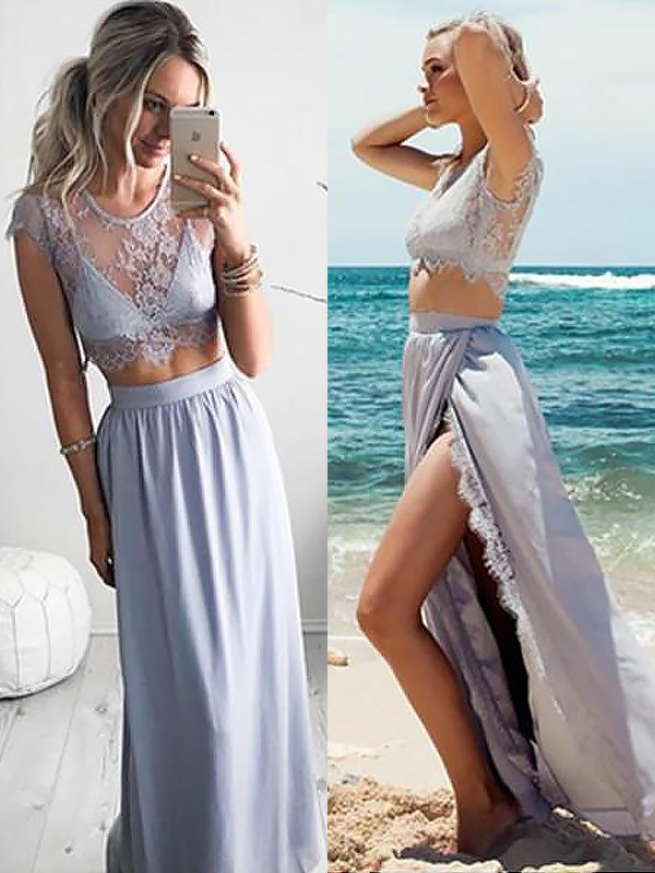 A-Line/Princess Jewel Sleeveless Satin Floor-Length Lace Two Piece Dresses