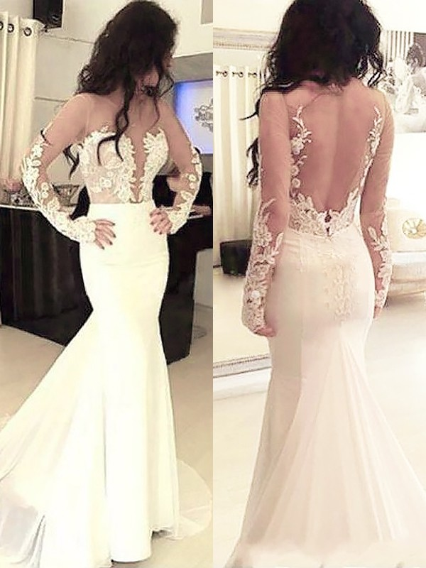 Mermaid Scoop Chiffon Long Sleeves Applique Sweep/Brush Train Grad Dresses