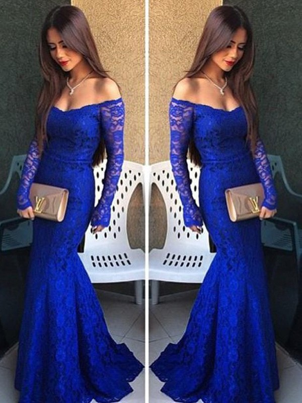 Mermaid Off-the-Shoulder Long Sleeves Lace Floor-Length Formal Gown