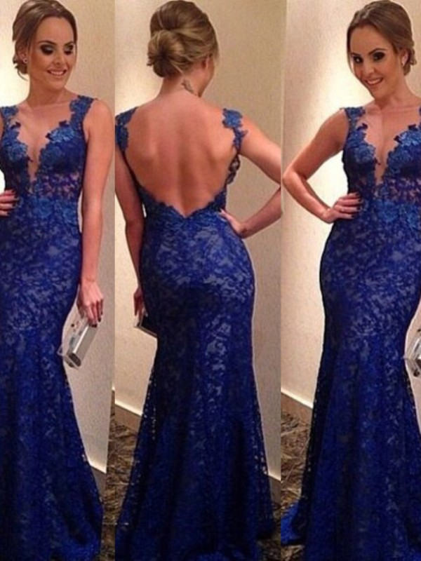 Trumpet/Mermaid V-neck Sleeveless Sweep/Brush Train Lace Evening Dress With Applique