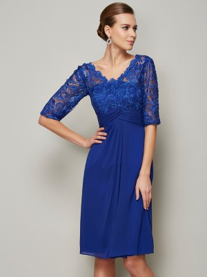 Column V-Neck lace Chiffon Sleeves Knee Length Mother of the Bride Outfits