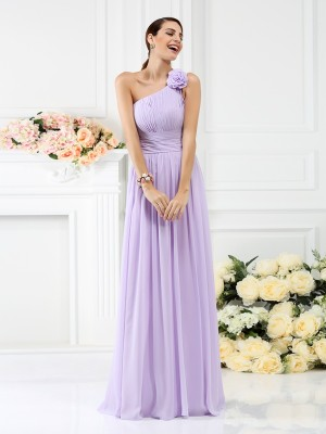 A-Line One-Shoulder Pleats Hand-Made Flower Floor-Length Chiffon Dresses For Bridesmaid
