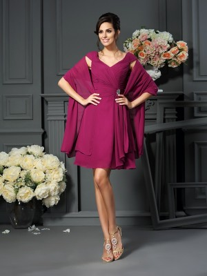 A-Line V-neck Pleats Knee-Length Chiffon Mother of the Groom Dress