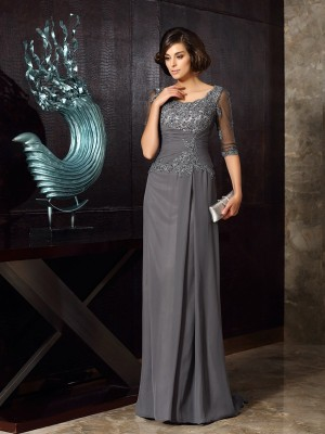A-Line Scoop Chiffon 1/2 Sleeves Beading Applique Sweep/Brush Train Mother of the Groom Dress