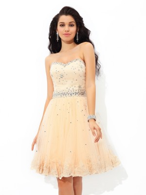 A-Line Sweetheart Beading Sleeveless Short Satin Cocktail Gown