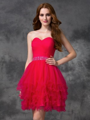 A-Line Sweetheart Sleeveless Beading Short Satin Cocktail Gown