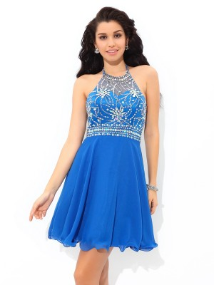 A-Line Halter Beading Sleeveless Short Chiffon Cocktail Gown