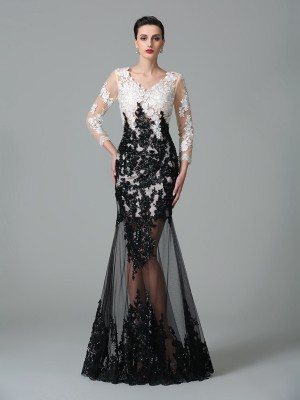 Sheath 3/4 Sleeves V-neck Lace Floor-Length Net Dresses