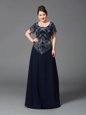 A-Line Square Short Sleeves Floor-Length Chiffon Plus Size Mother of the Bride Dresses