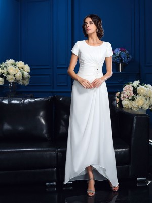 A-Line Scoop Short Sleeves Asymmetrical Chiffon Mother Of The Bride Dresses