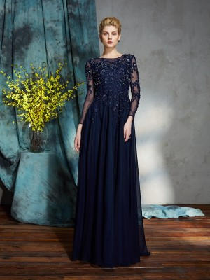 A-Line Scoop 3/4 Sleeves Applique Floor-Length Chiffon Mother of the Bride Dress