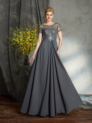 A-Line Short Sleeves Scoop Chiffon Floor-Length Mother of the Bride Dress