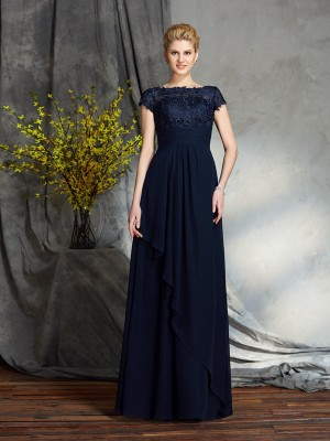 A-Line Bateau Short Sleeves Floor-Length Applique Chiffon Mother of the Bride Dress