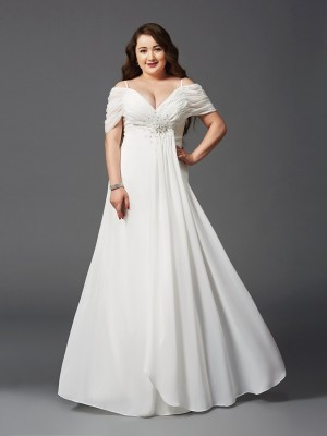 A-Line Off-the-Shoulder Ruched Short Sleeves Floor-Length Chiffon Plus Size Dress