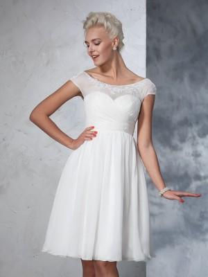 A-Line Short Sleeves Sheer Neck Chiffon Knee-Length Ruched Wedding Dresses