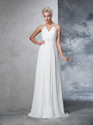 A-Line V-neck Sleeveless Chiffon Ruched Sweep/Brush Train Wedding Gown