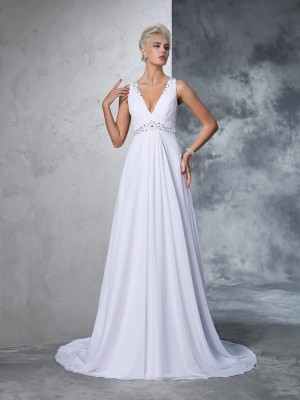 A-Line V-neck Sleeveless Chiffon Beading Cathedral Train Wedding Gown