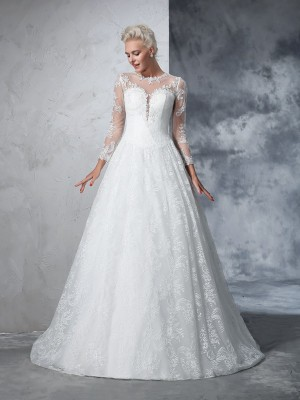 Ball Gown Long Sleeves Jewel Lace Court Train Wedding Dress