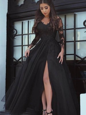 Ball Gown Long Sleeves Off-the-Shoulder Lace Floor-Length Applique Dress