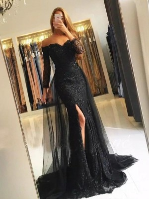 Trumpet/Mermaid Long Sleeves Sweep/Brush Train Off-the-Shoulder Tulle Lace Dress