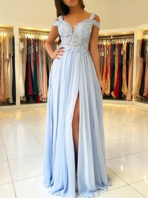 A-Line/Princess Off-the-Shoulder Sleeveless Floor-Length Applique Chiffon Dress
