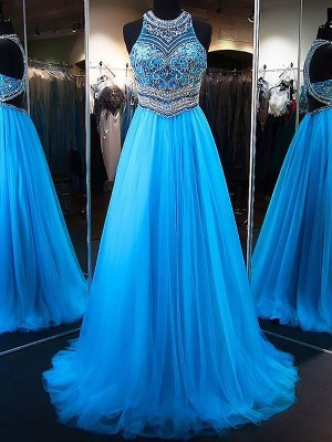 A-Line/Princess Jewel Sleeveless Sweep/Brush Train Beading Tulle Dresses