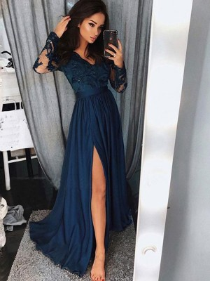 A-Line/Princess V-neck Long Sleeves Sweep/Brush Train Applique Ruched Chiffon Dresses