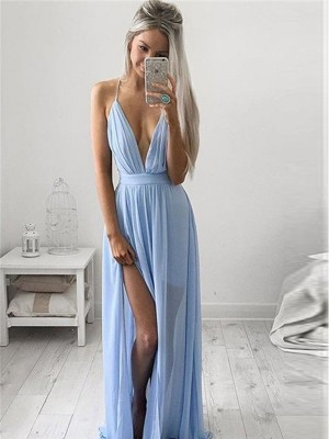 A-Line Spaghetti Straps Chiffon Ruched Floor-Length Formal Gown