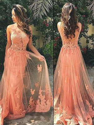 A-Line Straps Tulle Sweep/Brush Train Applique Formal Gown